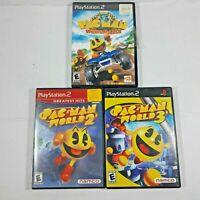 Pac-Man World 2 & 3, Pac-Man World Rally Sony Playstation 2 PS2 Lot CIB Manuals