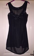 Its A Beachlife Black Jewelled Tunic Top Size 10-12