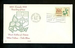 Postal History Canada #418 FDC H&E Floral Flower of Ontario 1964 Ottawa ON