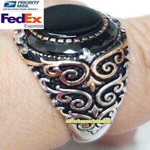 925 Silver Black Onyx Stone Fresh Handmade 925 Mens Ring All Sizes