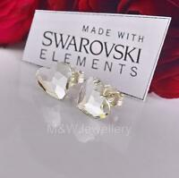 925 STERLING SILVER STUD EARRINGS CRYSTALS FROM SWAROVSKI® HEART CRYSTAL F 10MM