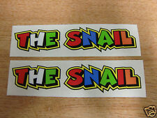 "Valentino Rossi style text - ""THE SNAIL""  x2 stickers / decals  - 5in x 1in"