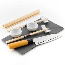 Set Sushi (2 salseras,4 palillos,bandeja pizarra,esterilla,cuchillo,2 soportes)