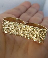 Real 10k yellow Gold Nugget double 2 finger bar knuckle Ring S 10.5 11