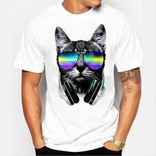 Men Boy Blouse Plus Size Print Tees Shirt Short Sleeve Cotton T Shirt BlouseTops Cat 3xl