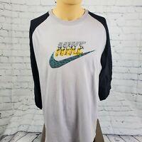 Mens Grey Baseball Style Graphic Cheetah Swoosh Shirt Sz XL