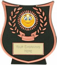 Emblems-Gifts Curve Bronze Happy Grin Trophy With Free Engraving