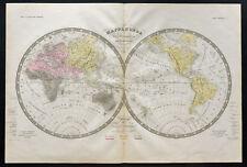 1838c Raro Mapa del mundo con Razas de Hombres blanca,amarillo,negra F. Ansart