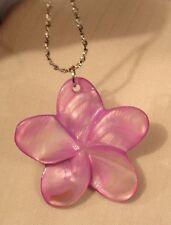 Delightful Pink-Purple Violet Sculpt Twist Petal Flower Pendant Necklace +++