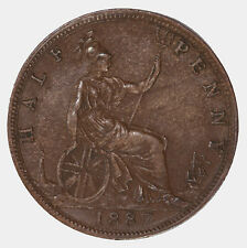 Raw 1887 Great Britain 1/2P Uncertified Ungraded Half Penny Coin