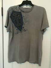 AFFLICTION MEN'S GRAY BLUE BLACK SHIELD CROSS WINGED LIONS STUDDED SHIRT MEDIUM