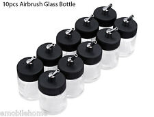 10Pcs Airbrush Air Brush Glass Bottle 22cc Standard Suction Lid Pump Top New
