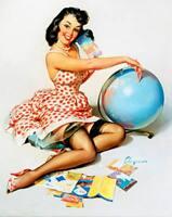 "Vintage GIL ELVGREN Pinup Girl CANVAS PRINT Poster Globe 16"" X 12"""