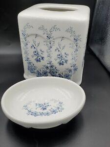 Vintage Laura Ashley Porcelain Sophia Soap Dish And Tissue Cover Set