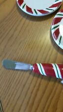 4 Longaberger Peppermint Twist Coasters plates pottery and spread knife
