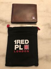 1Red Place London Wallet New Brown Genuine Leather British Flag Mens Flip Brand