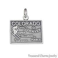 .925 Sterling Silver STATE OF COLORADO CHARM Aspen Denver Vail Pueblo PENDANT