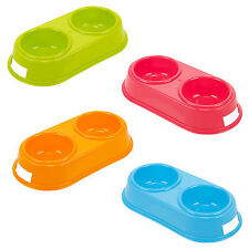 Dog Cat Pet Feeding Bowl 2 Compatments Plastic Home Travel Food Water Puppy New