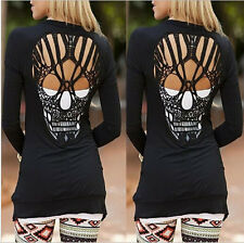 S Women Cardigan Coat Long Sleeve Skull Backless Casual Loose Sweater Jacket 05