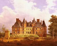 Oil painting nicolas Alexandre barbier - a french chateau great building canvas