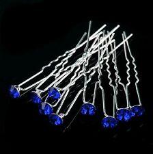 Lot 10 épingles à cheveux bijou pour mariage strass crystal de Royal Bleu NEUF