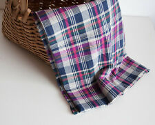 Vtg Cotton Woven Bulgarian Fabric Check Plaid Navy Blue Purple Green Pink 2.2y