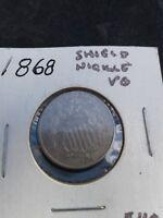 1868 Shield Nickel X-Fine Nice Eye Appeal      Extra Fine Details  KEY DATE