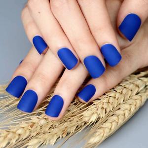 MATTE *ROYAL BLUE* SHORT Full Cover Press On 24 Nail Tips + Glue! sm1