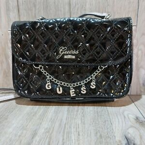 Womens Guess Purse Shoulder Handbag With Front Logo Charms