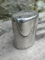 Vintage Chemist's Glass Lined Chrome Steel Container with Separate Lid