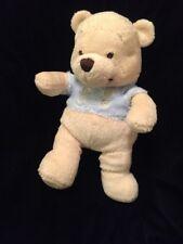 Disney Store Pooh Bear Soft Toy Blue Shirt Yellow Baby Plush Stuffed Animal