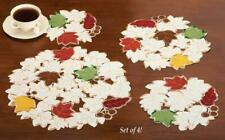 Embroidered Autumn Leaf Doilies - Set of 4