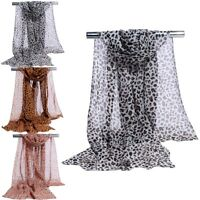 Womens Girls Soft Leopard Print Chiffon Shawl Scarf Long Wrap Stole Scarves New