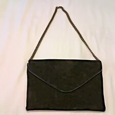 *J CREW* Women's Black Suede Leather Chain Link Envelope Clutch Purse Handbag