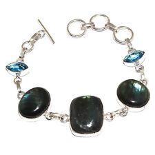 "Silver Plated Bracelet 8.1"" Mm-40391 Labradorite Blue Quartz 925"