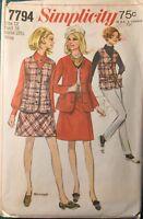 "Vintage 1970s Pattern MINI Skirt Vest Jacket SIMPLICITY #7794 SIZE 12 Bust 34"""