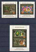 GUINEA ECUATORIAL 3 x  BLOCK GOLD PRINT= 1972 ENGLISH ROYAL FAMILY