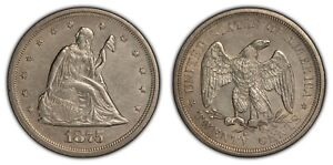 1875-S/S 20c Seated Liberty Twenty-Cent Piece - Luster - Uncirculated - B1207