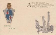 A7646) 1902, SALUTI ED AUGURI DALLA CITTA' DI BOLOGNA, LE DUE TORRI E STEMMA.