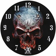 "Birth Of Satan Child Demon Skull Wall Clock By Alchemy Gothic Round Plate 13.5""D"