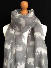 Damen Grau Elephant Print Schal Wrap grau mit weißen Elefanten Geschenkidee