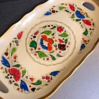 VTG Tray Hand Painted Tole Ware Oval Wood Enamel Floral Gold Russian Style