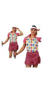 LADIES GOLF GOLFING FANCY DRESS PINK PUB HEN NIGHT DO PARTY GOLFER CRAZY WOMENS