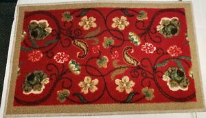 """TEXTILE KITCHEN RUG, (nonskid back) (16"""" x 26"""") FLOWERS ON RED by BEKMEZ"""