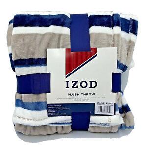 Izod Plush Throw Blanket  Bradley striped print gray blue white 50 X 70 cozy