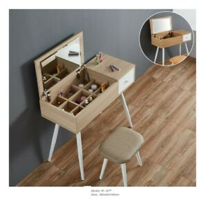 Scandinavian Nordic Style Dressing Table Set W/ Mirror Stool Vanity Desk Console