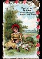 IMAGE CHROMO découpis CHOCOLAT POULAIN / FLEUR MYOSOTIS / ENFANT en CAMPAGNE