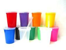 24 Small 12 Oz Opaque & 1 Clear Drinking Glasses Lids & Straws Mfg Usa Lead Free