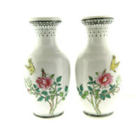 """Antique Chinese Canton Hand Painted Porcelain Vase Pair Floral Bird 6"""""""