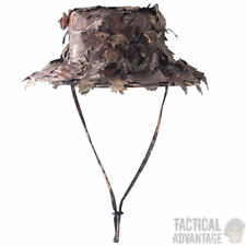 3D Real Tree Leaf Camouflage Ghillie Hat Sniper Wide Brim Camo Boonie Hunting UK